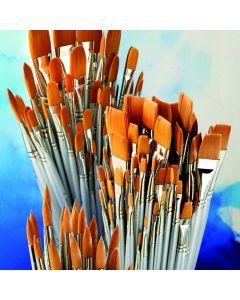 Student Flat Synthetic Watercolour Brush Bulk Pack