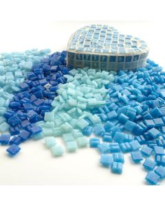 10mm Glass Mosaics Assorted Blues
