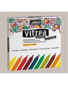 Pebeo Vitrea 160 Gloss Markers. Pack of 9