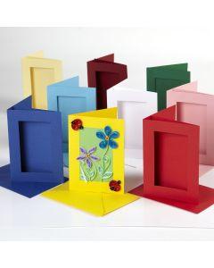 Rectangular Cut Greetings Cards Assortment. Pack of 45