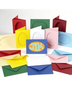 Oval Cut Greetings Cards Assortment. Pack of 45
